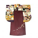 着物:鞠と小槌紫カラシ緑/袴:浮桜刺繍エンジ①95